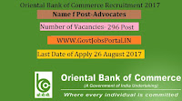 Oriental Bank of Commerce Recruitment 2017– 296 Advocates