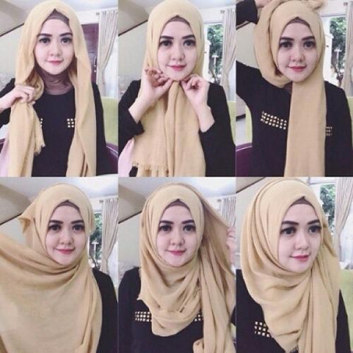 tutorial memakai jilbab pashmina style2