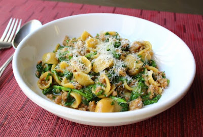 """""""One Pan"""" Orecchiette with Sausage and Arugula"""