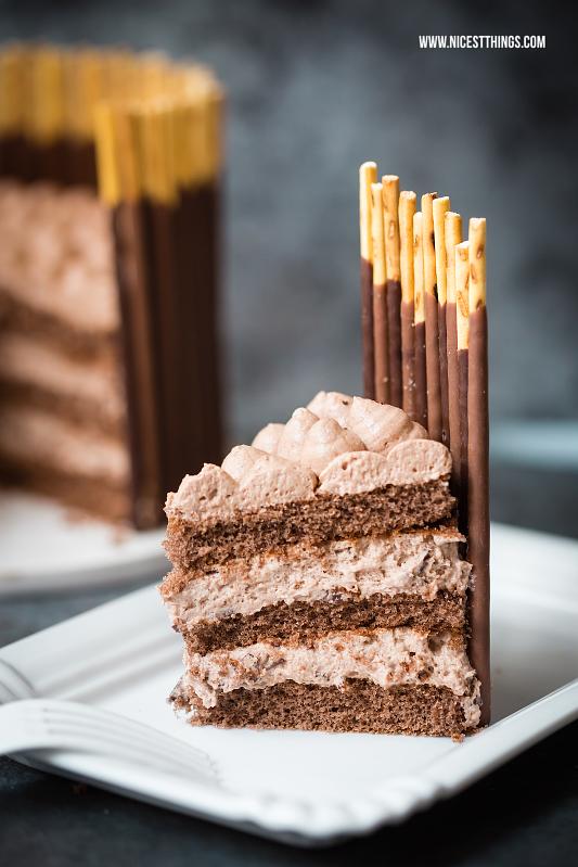Tortenstück vom Mikado Kuchen