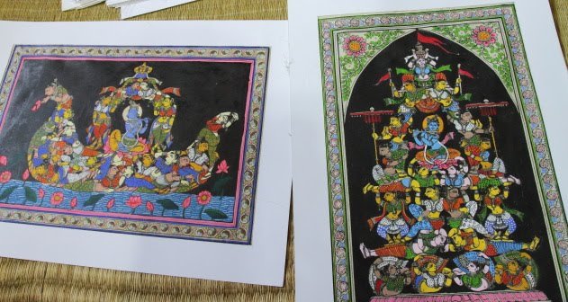 Tusser Silk Paintings of Krishna and his gopikas at Raghurajpur, Odisha