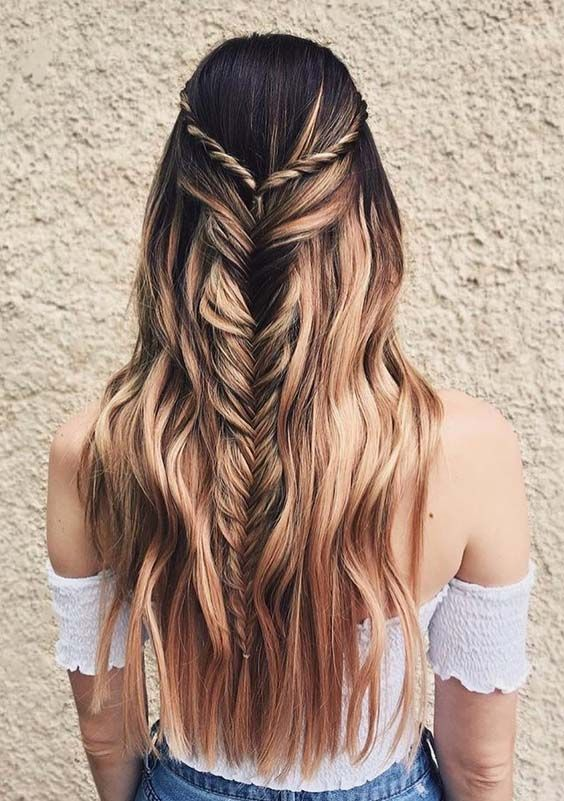 Best Half-up Fishtail Braid with Smooth Shiny Waves Hair Looks