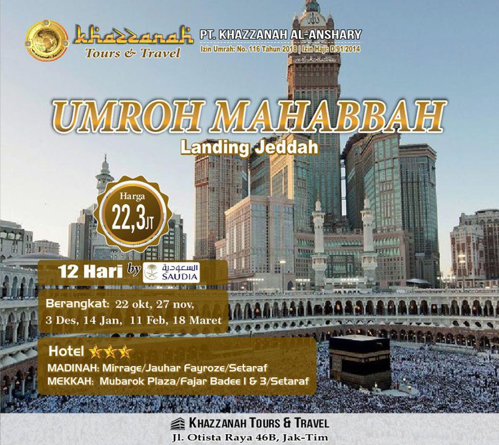 Umroh Mahabbah 12 Hari Khazzanah Tour