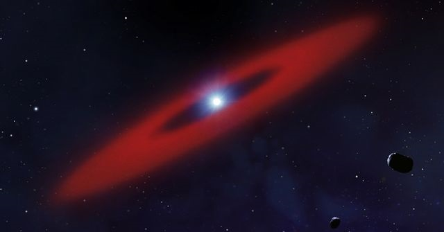 Rendering of a white dwarf star (bright white spot), with rocky debris from former asteroids or a minor planet that has been broken apart by gravity (red rings). Credit: University of Warwick