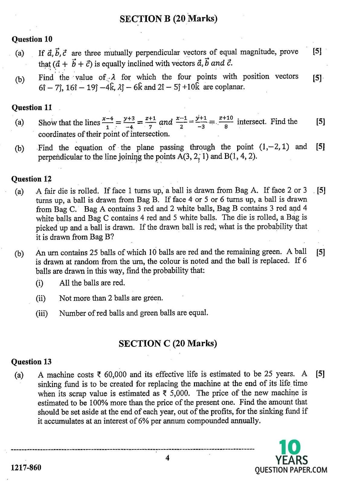 isc 2017 class 12th Mathematics question paper