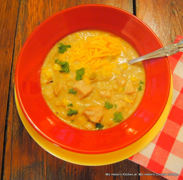 Slow Cooker Green Chili, Chicken and Rice Soup at Miz Helen's Country Cottage