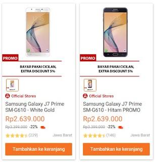 Harga Samsung Galaxy J7 Prime terbaru di Indonesia turun menjadi Rp 2.639.000 (cicilan 12 bulan x Rp 219.917), disediakan oleh Lazada (update 13 April 2018)