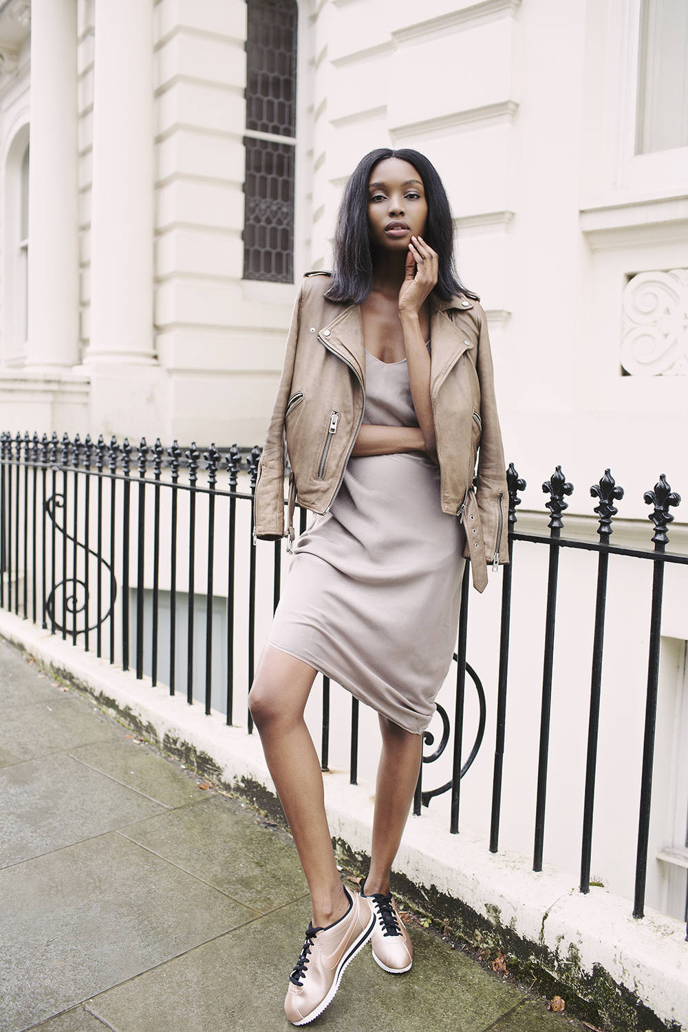Bisous Natasha - Nude Satin Nike Cortez + Leather Jacket