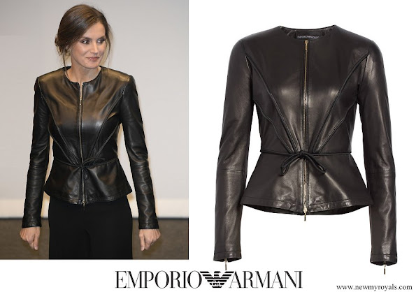 Queen Letizia wore EMPORIO ARMANI Leather Peplum Jacket