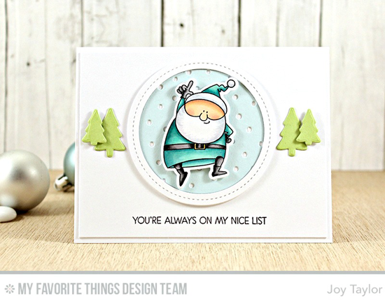 Handmade card from Joy Taylor featuring Merry Everything and Birdie Brown Jingle All the Way  stamp sets and Die-namics, Snowfall - Vertical and Single Stitch Line Circle Frames Die-namics #mftstamps