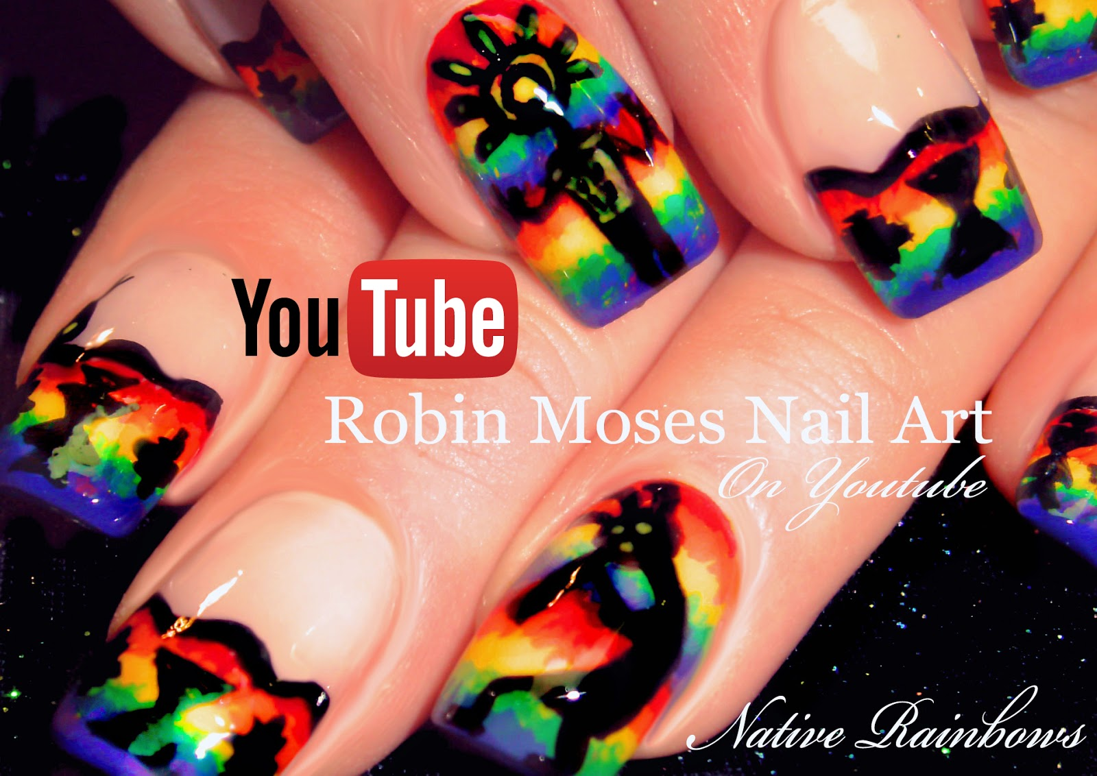 Nail Art By Robin Moses Easy Hand Painted Tie Dye Nail Art