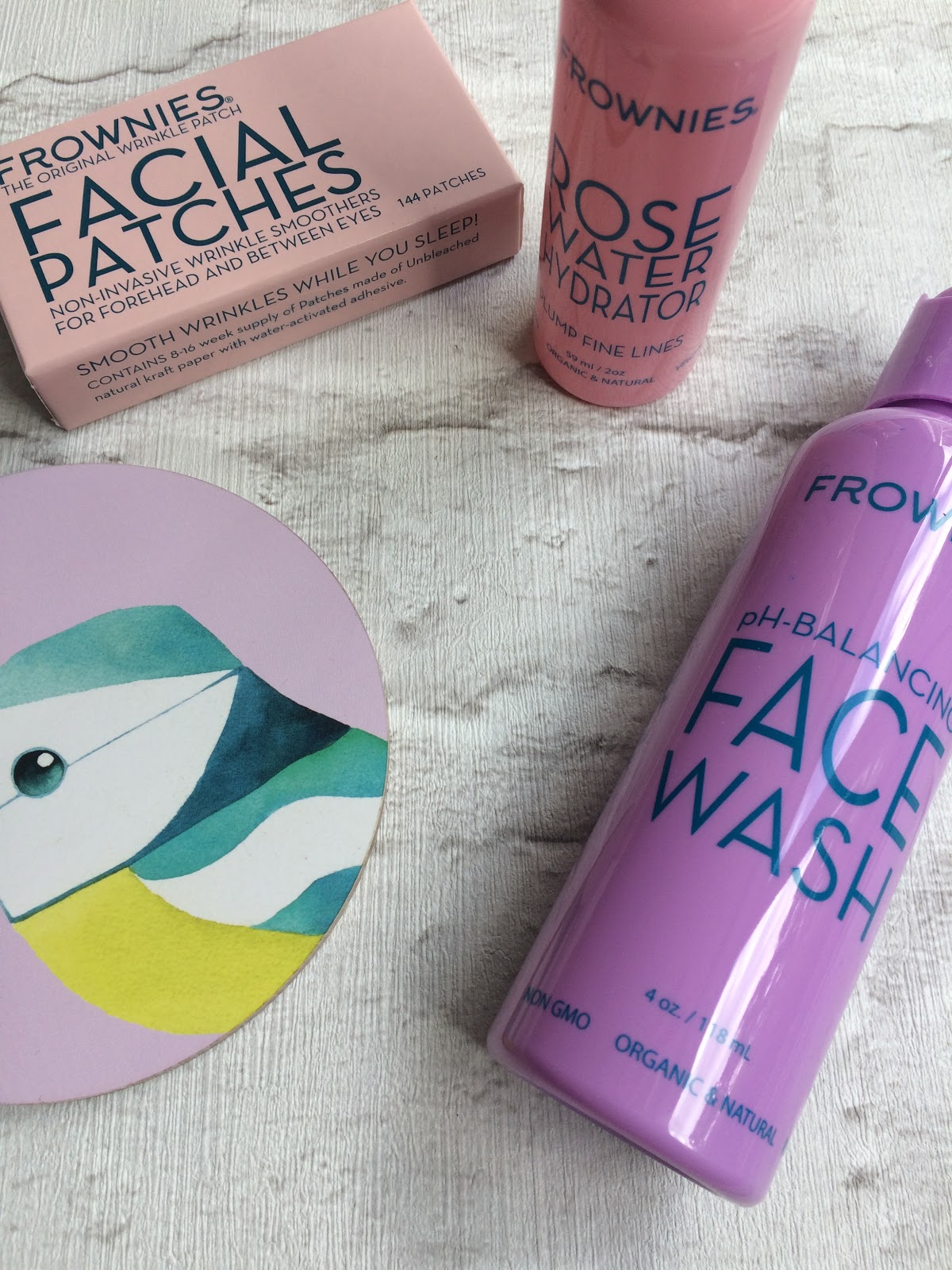 Frownies Facial patches, forehead and between the eyes, face wash and rose water hydrator