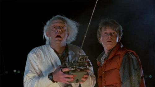 Christopher Lloyd as Doc Brown, Michael J. Fox as Marty McFly in Back to the Future