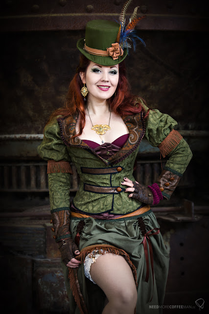 Madmoiselle Meli as a sexy Steampunk Leprechaun for St. Patrick's Day