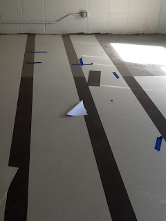 floor with tiling laid out