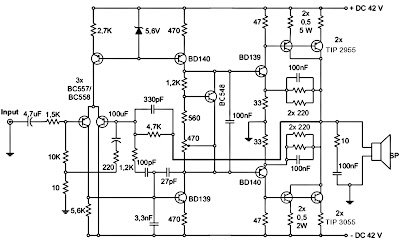 300W subwoofer amplifier schematic