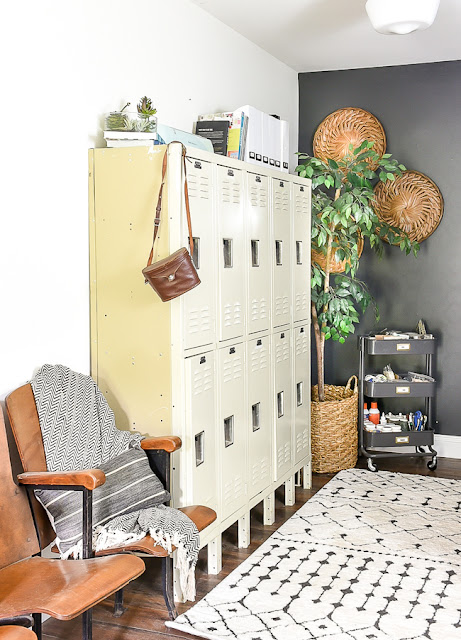 High contrast vintage inspired home office
