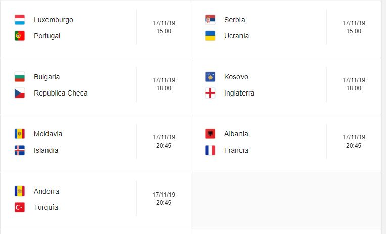 20 Calendario eliminatorias Eurocopa 2020 - 17 de noviembre 2019. Partidos de clasificación Eurocopa 2020. Juegos de las eliminatorias Eurocopa 2020. Partidos, fechas, hora, transmisiones eliminatorias Eurocopa 2020. Donde ver la Eurocopa 2020