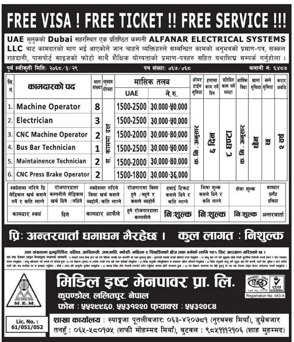 Manpower Demand: UAE, Dubai, Alfanar Electrical Systems LLC