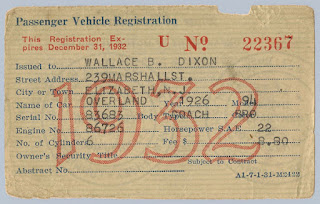 1932 NJ Passenger Vehicle Registration issued to Wallace B. Dixon for his 1926 Overland Coach. Privately held by E. Ackemann, 2016.