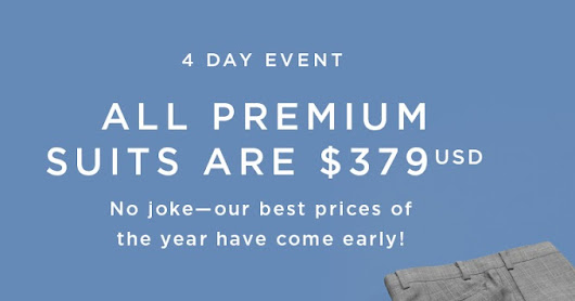 Black Friday in May? All Indochino Premium suits for just USD 379
