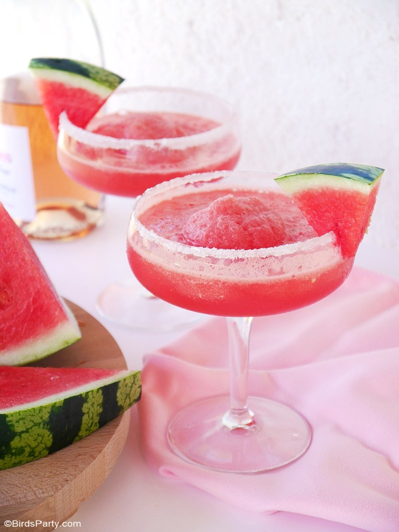 Watermelon & Rosé Granita Cocktail - a delicious, refreshing, easy to make batch cocktail recipe for summer parties and entertaining! by BirdsParty.com @birdsparty