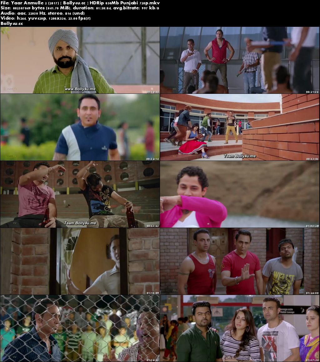 Yaar Anmulle 2 2017 HDRip 850Mb Full Punjabi Movie Download 720p