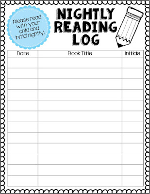 Adventures of first grade reading logs for 4th grade reading log template