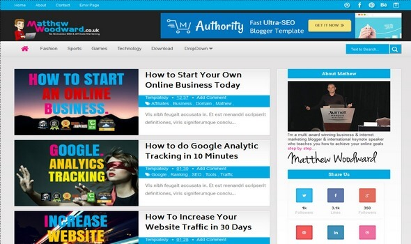 Authority Mathew Premium Blogger Templates - Blog Gallery