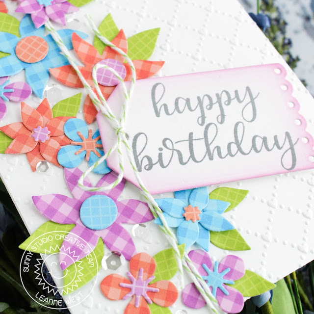 Sunny Studio Stamps: Botanical Backdrop Everyday Greetings Happy Birthday Card by Leanne West