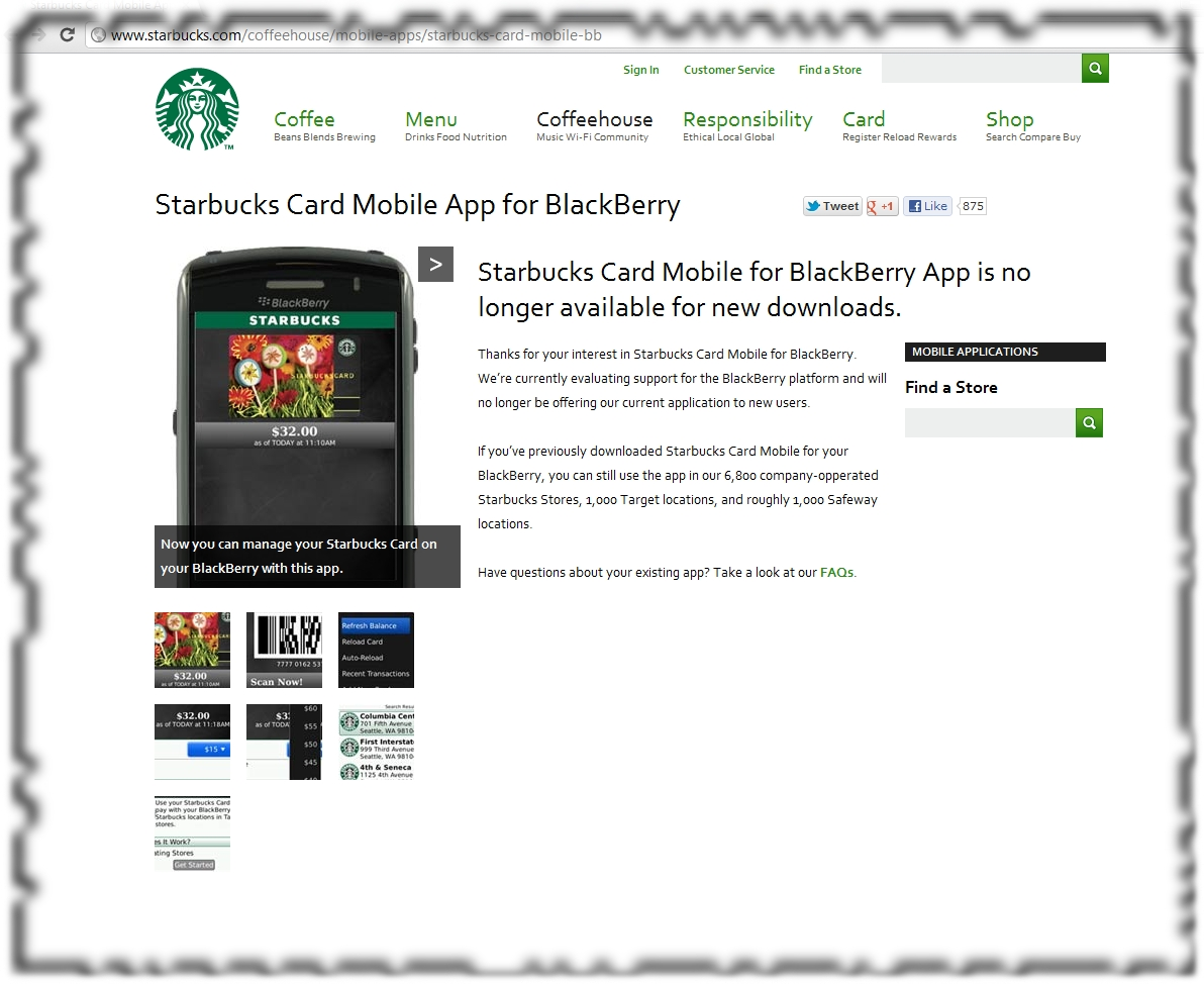 Starbucks Coffee and paying with your BlackBerry PlayBook
