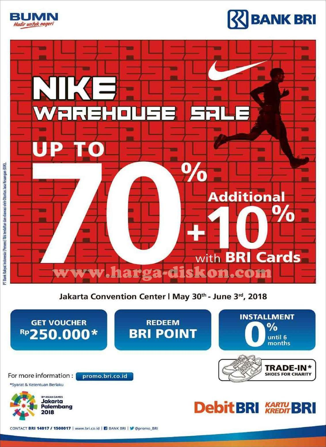 purchase cheap 083e7 10c6f Promo NIKE Terbaru Warehouse Sale Hemat Hingga 70% + Tambahan Diskon 10%  dengan Kartu BRI Dapatkan penawaran menarik voucher Rp250.000, Redeem point  BRI, ...