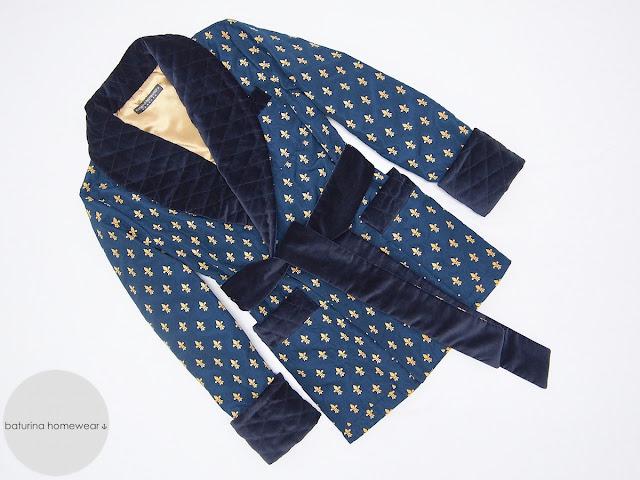 herren hausjacke warm smoking jacket morgenmantel englisch gesteppt gefüttert edel elegant exklusiv luxus hausmantel raucher jacke