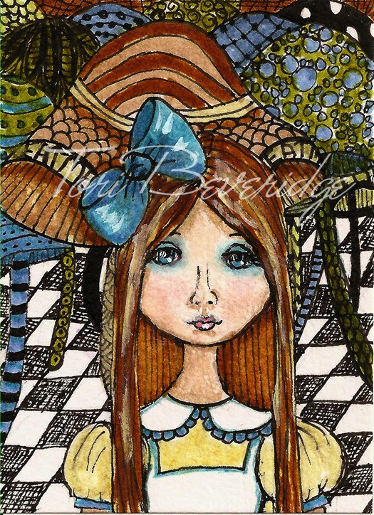 Alice in Wonderland in The Mushrooms ATC OOAK by Tori Beveridge 2014