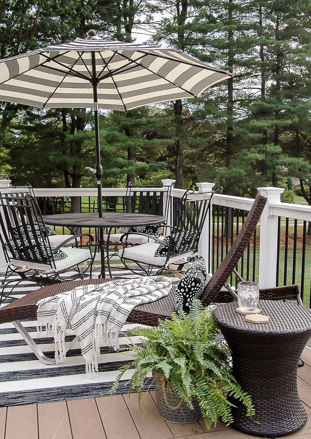 Black and white deck furniture and decor