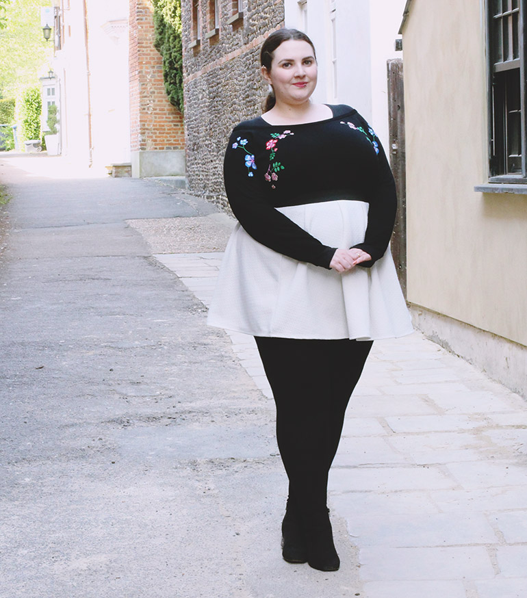 Plus size white skater skirt