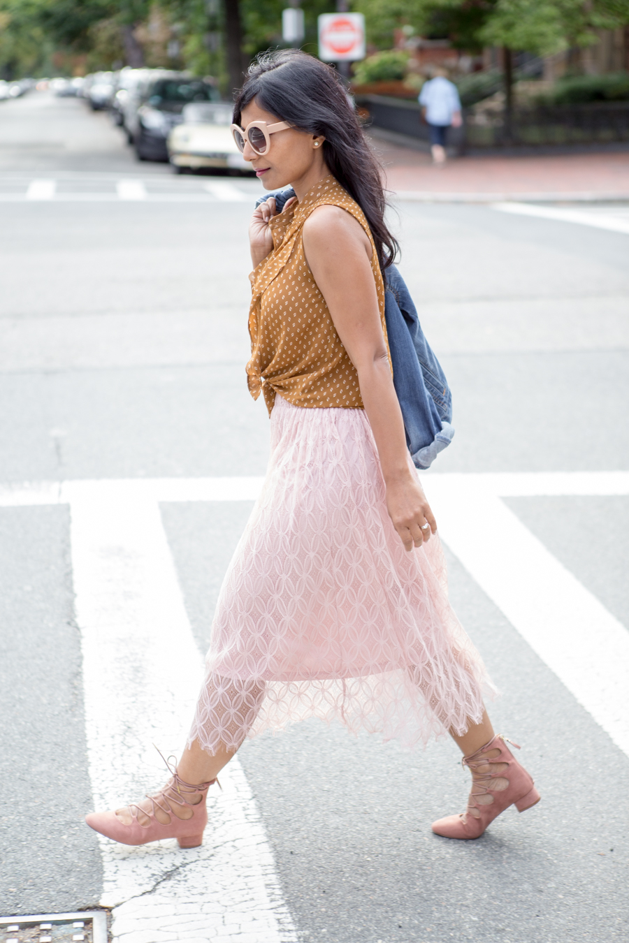 pink lace-up shoes, blush lace skirt, versatile style, casual outfit, dressy outfit, petite fashion, felted hat, fall wardrobe updates, how to wear your summer pieces longer, felted wool hat, brixton, forever 21, trendy, easy style tips