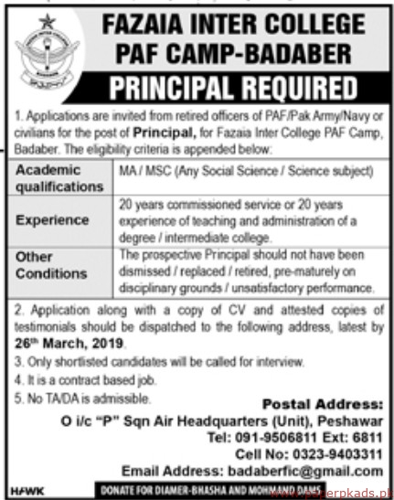 Fazaia Inter College PAF Jobs 2019 Latest