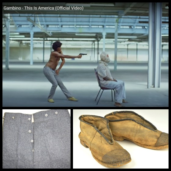 Childish Gambino's This is America - Easter egg - Those unique buttoned pants and yellow shoes are a direct take on the dress worn by Confederate soldiers, who had a numbing history of brutality against African Americans.  That is why the police don't come (yet) chasing after him... he's not (representing) a black man here. He is the modern day equivalent of a white confederate who can get away with murdering a black man in broad daylight.
