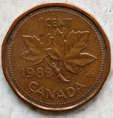 1983 Canadian Cent, Far Beads Reverse