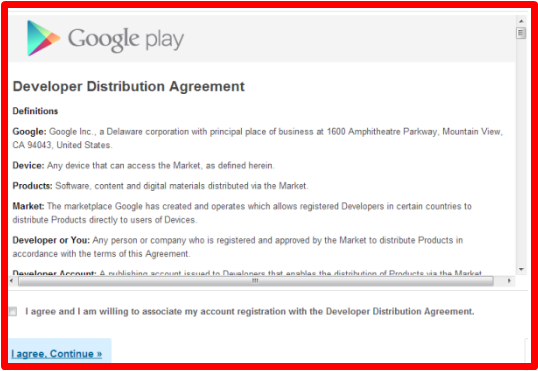 Register for Google Play Android account