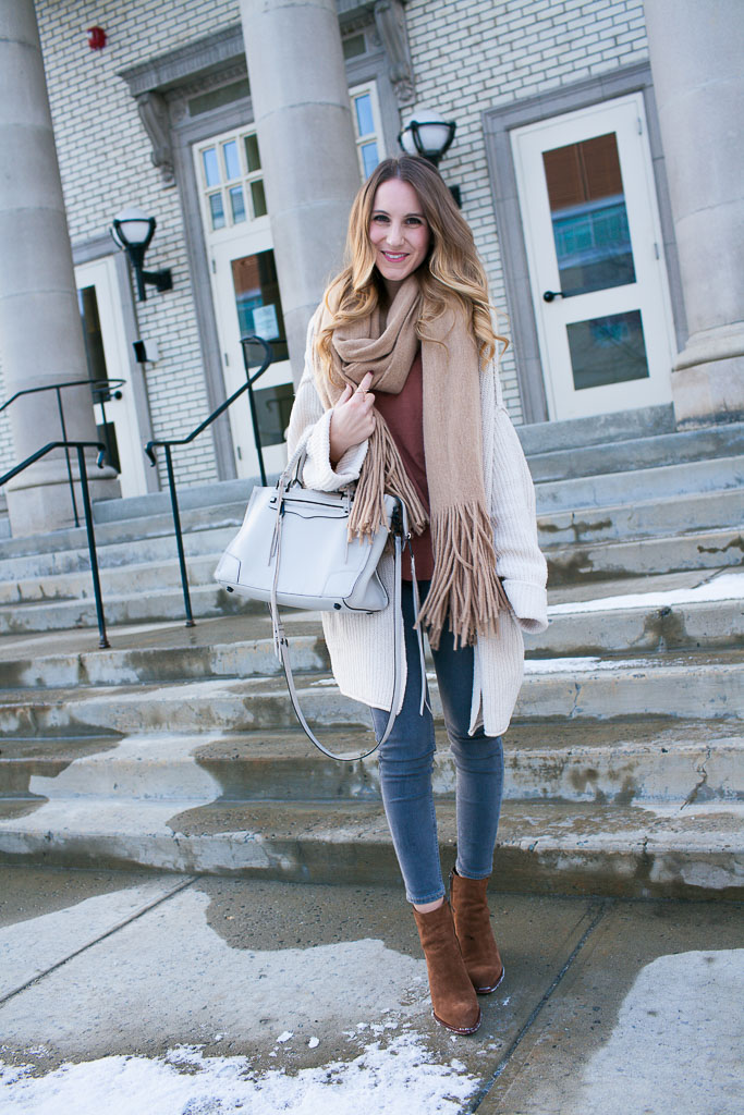 Oversized cream cardigan with bell sleeves paired with neutrals - winter style idea
