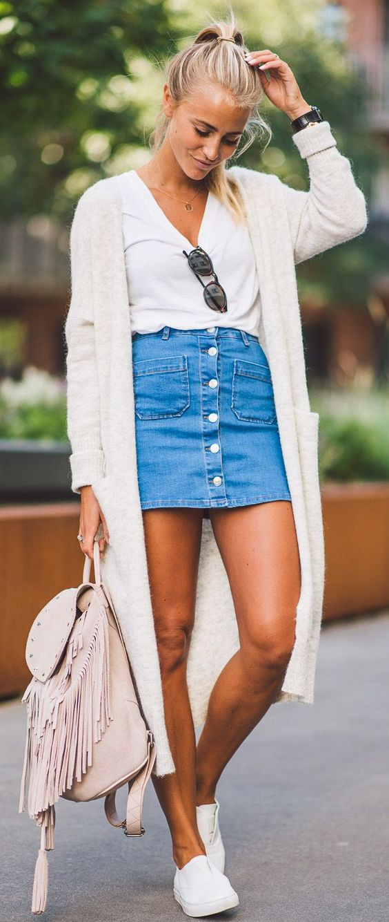denim skirt outfits pinterest