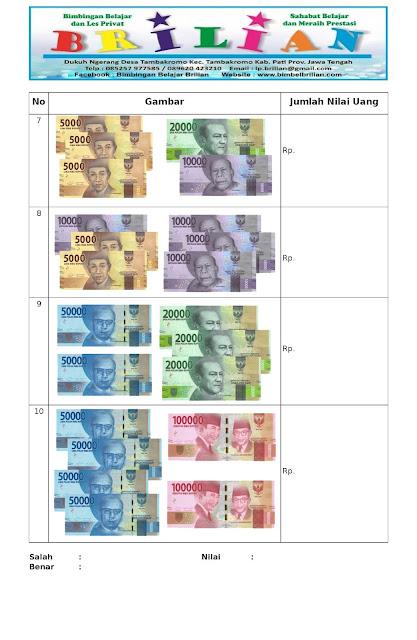 Soal Latihan Menghitung Uang Disertai Gambar Dan Kunci Jawaban