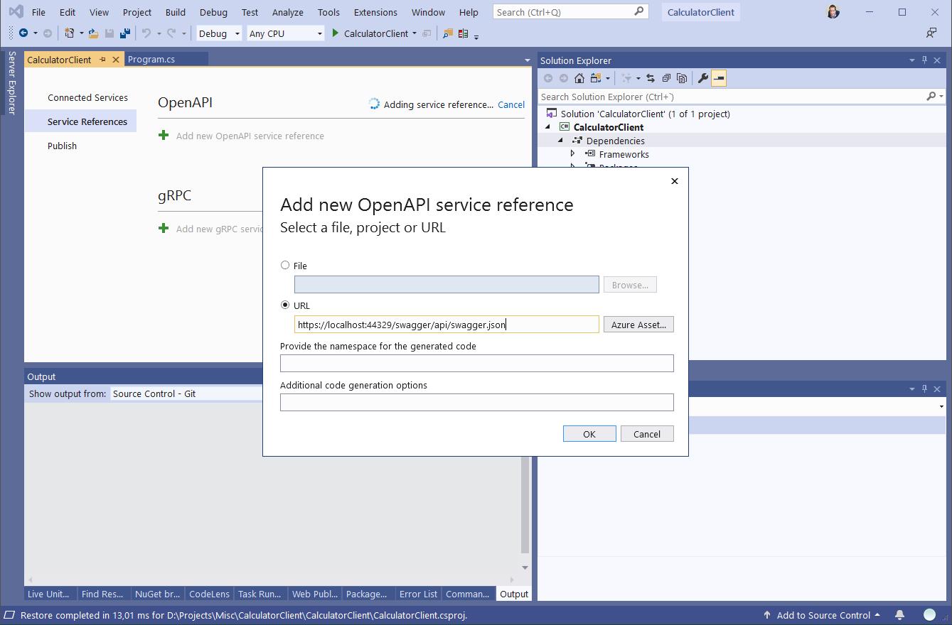 Añadir referencia a servicio OpenAPI