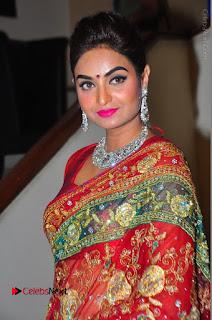 Model Sharon Fernandes Stills in Red Saree at Trendz Exhibition Launch  0043.JPG