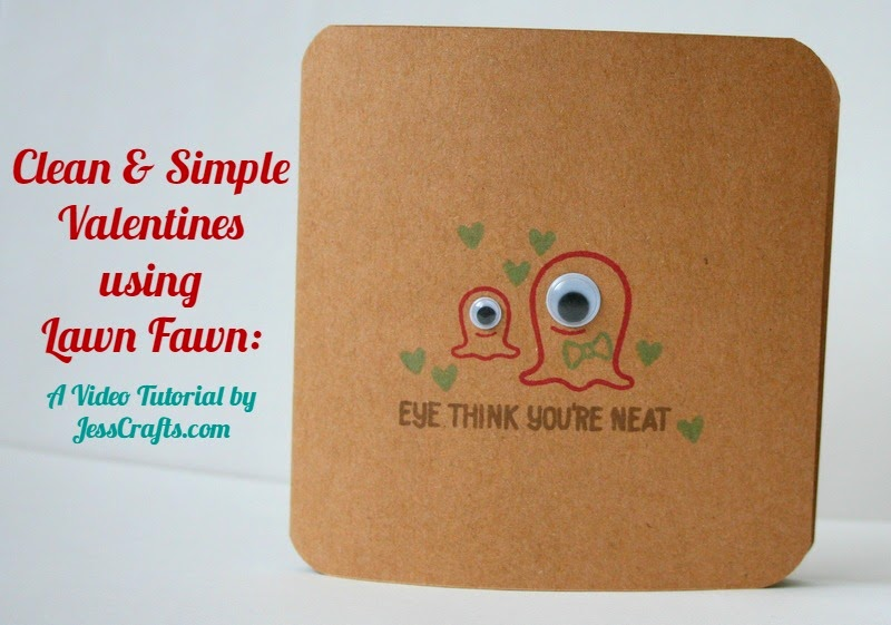 Clean and Simple Kids Valentine with Video Tutorial by Jess Moyer featuring Lawn Fawn Monster Mash from JessCrafts.com