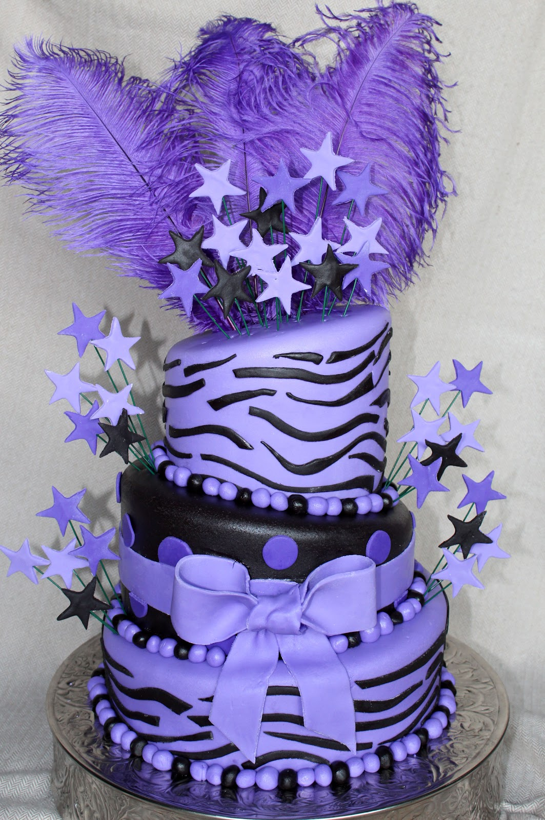 Cake Flair Purple Zebra And Feathers Cake