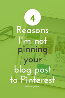 Are your blog posts not being pinned to Pinterest by anyone other than you? It may be because of one of these four things. | arelaxedgal.com