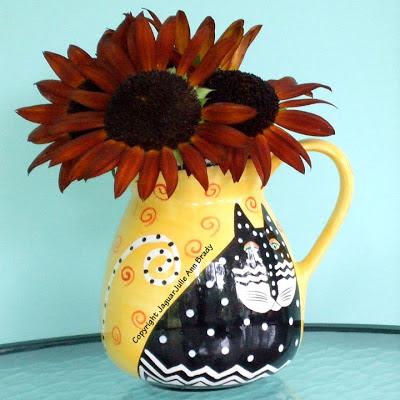 Autumn Beauty Sunflowers in a Laurel Burch Cat Vase